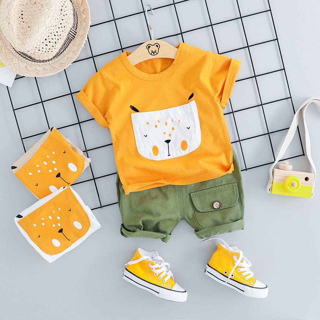 Toddler Baby Boys Clothes Set Cartoon Dog T Shirt Tops Short Pants Kids Boy Summer Casual Comfortable Outfits Set Clothing(China)