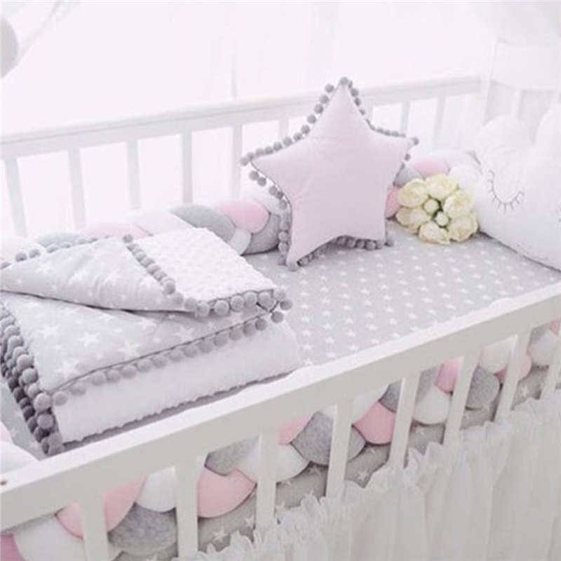 2M/3M Baby Bed Bumper Knotted Braid Pillow Cushion Baby Crib Bumper For Infant Newborn Room Cot Decor