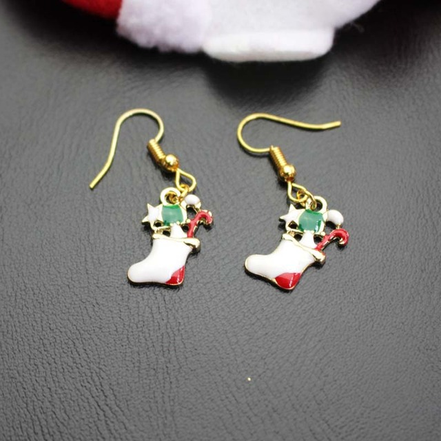 61bba3e2d Christmas Serie Earrings Xmas Boots Socks Shape Eardrop Present For Women  Family Gift Ear Jewelry