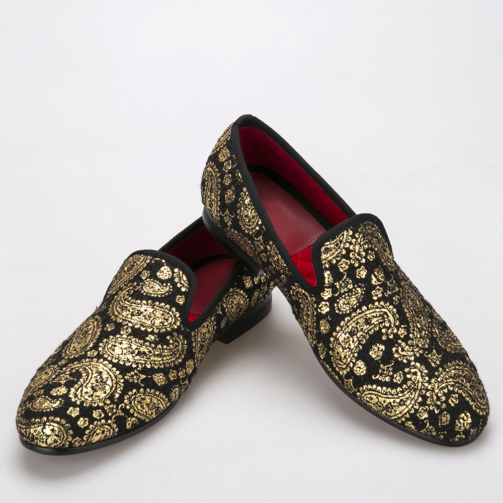 Gold cashew flowers prints men velvet shoes Party and Wedding loafers British style smoking slipper mens dress shoes british style genuine leather party dresses men loafers velvet slippers mens wedding formal shoes zapatos hombre vestir