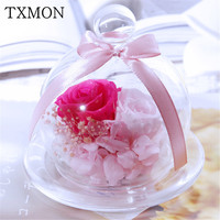Beautiful Floral Decoration Eternal Real Rose Dried Flower Glass Cover Gift Box Valentine's Day Gift Holiday Decoration Gifts