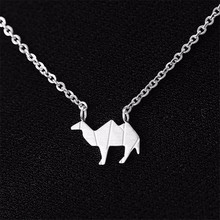 GORGEOUS TALE 10pcs Cute Animal Tattoo Choker Stainless Steel Jewelry Origami Camel Necklaces & Pendants Gold Silver Colar