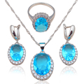 Joyería de Moda de Circón de lujo de Plata Estampado Azul Zircon Juegos de Joyería Pendientes Collar Anillos sz #6 #7 #8 #9 #10 JS585A