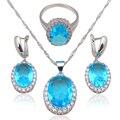 Luxo Zircão Moda jóias de Prata Carimbado Azul Zircon Jóias Conjuntos de Colar Brincos Anéis sz #6 #7 #8 #9 #10 JS585A