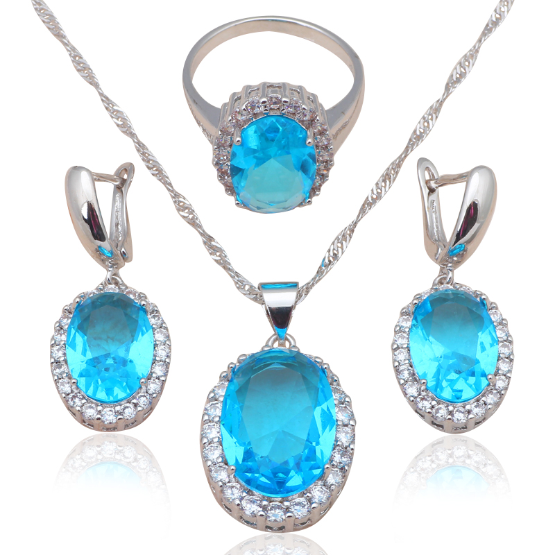 Luxury Zircon Fashion jewelry Silver Stamped Blue Jewelry Sets Earrings Necklace Rings sz #6#7#8#9#10 JS585A - Jos fan's store