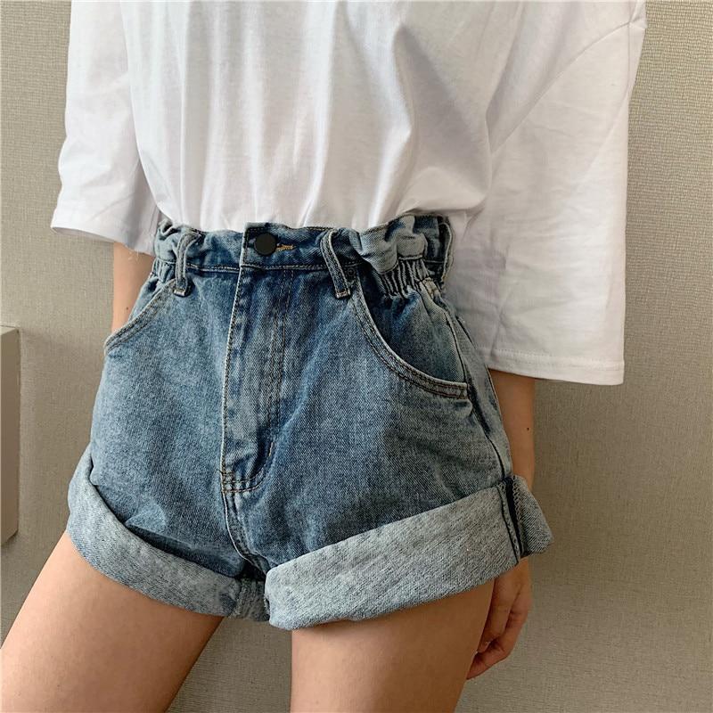Denim hot   shorts   Summer women Pleat curling   shorts   female denim casual   shorts   High waist wide leg denim   shorts   for women 2019