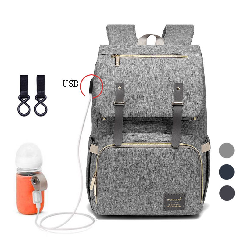 New Fashion Baby Diaper Bag With USB Large Nappy Bag Maternity For Mummy Daddy Waterproof Laptop Travel Backpack Nursing Bags