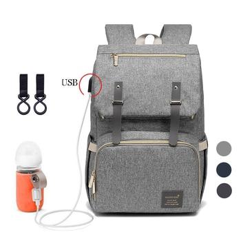 Nuevo pañal de bebé de moda con USB bolsa de pañales grande maternidad para mamá papá impermeable Laptop viaje mochila bolsas para lactantes