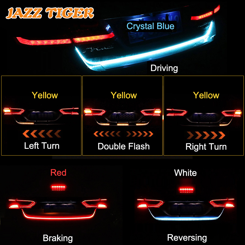 JAZZ TIGER Car Styling 4 in 1 LED Trunk Strip Light Flowing Rear font b Lamp
