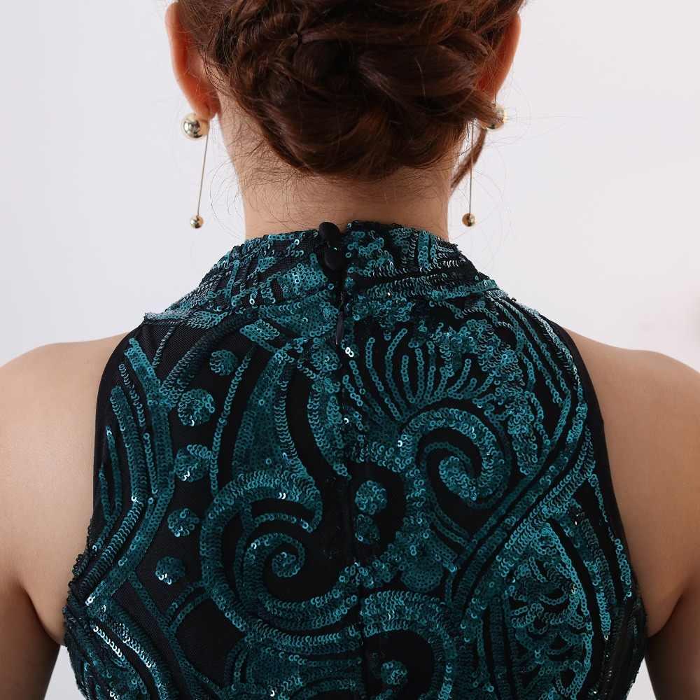 2020 Lange Groen/Zwart Sequin Avondjurk vestido de festa Sexy Ruglooze robe longue Prom Jassen Formele Party Dress