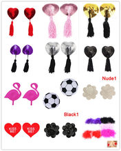 1Pair Women Reusable Nipple Cover Tassels Pasties Sexy Breast Petals Sequin Boob Tape Self Adhesive Nipples Stickers(China)