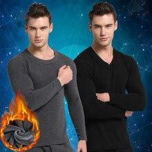2016 Autumn and Winter Men's Thermal Underwear Plus Velvet Thickening Primer Slim Cotton Warm Suit Round Neck Underwear Sets