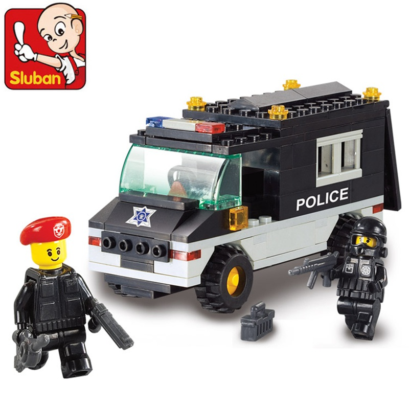 B1600 SLUBAN City Police SWAT Patrol Car Model Building Blocks Classic Enlighten DIY Figure Toys For Children Compatible Legoe 10639 bela city explorers volcano crawler model building blocks classic enlighten diy figure toys for children compatible legoe