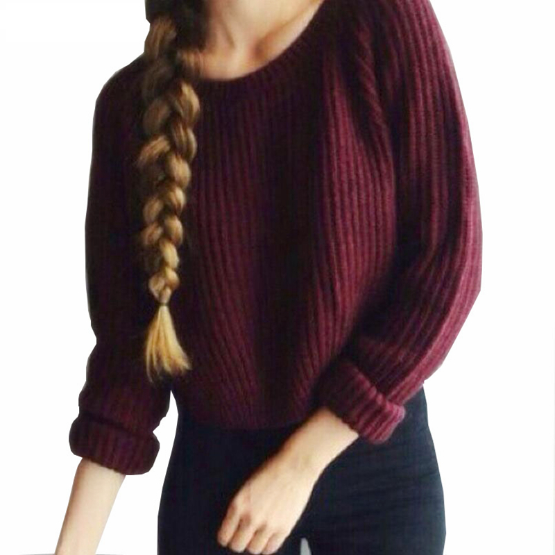 NDUCJSI Casual Crop Sweater Slim Knitted New Jumpers Autumn Winter Women Sweaters Warm Pullovers Short Design Long Sleeve Sweter