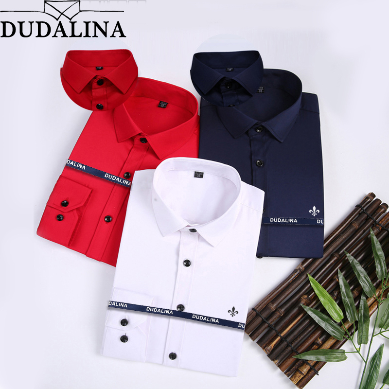 DUDALINA 2019 Bamboo Fiber Dress Shirt Male Shirt Male Spring Autumn Long Sleeve Solid Twill Formal Business Men Social Shirts