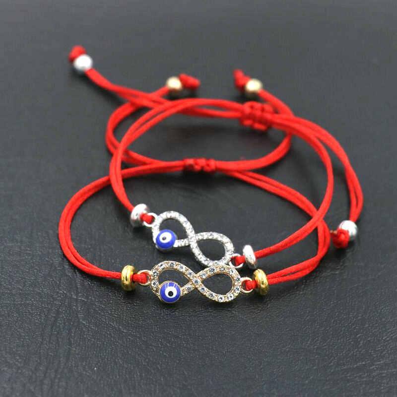 BPPCCR кубический цирконий цифровой 8 Бесконечность Лаки красная веревочная нить String шарм браслеты для женщин сглаза Pulseira влюбленных подарки