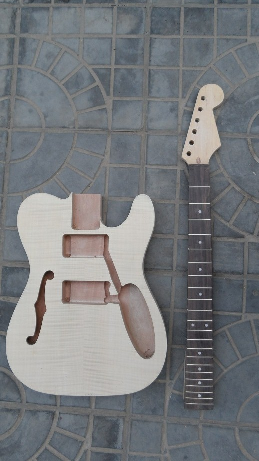 где купить New electric guitar Neck Guitar Body Solid wood Hollow Body F hole 1f дешево