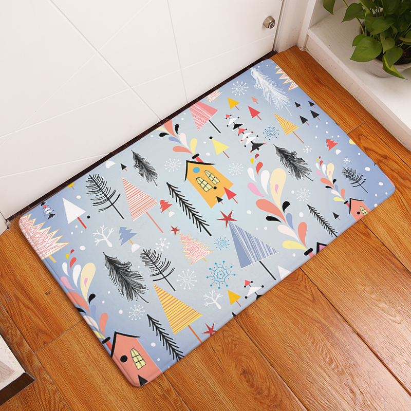 Homing Flannel Light Thin Decoration Stair Mats Merry Christmas Having Fun Gifts Carpets for Kids Bedroom Bedside Foot Pads Rugs
