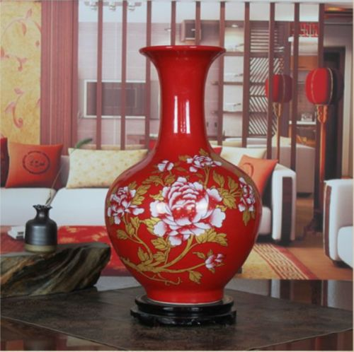 Hot Sale Delicate Chinese Porcelain Hand Drawing Golden Peony Red