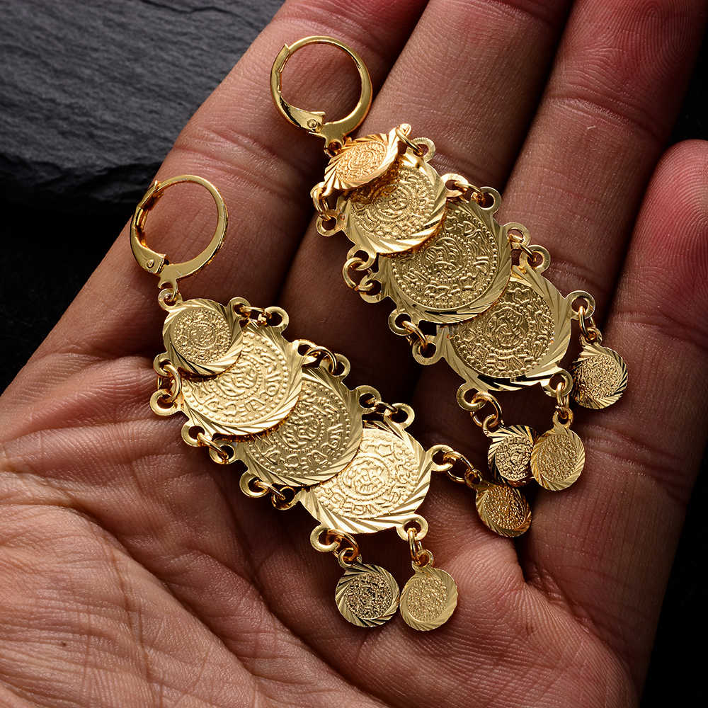 WANDO Newest Classic Arab Metal Coin Bead Women Girl Earrings Gold Color Earing Middle East African tassel bride Jewelry GiftE67