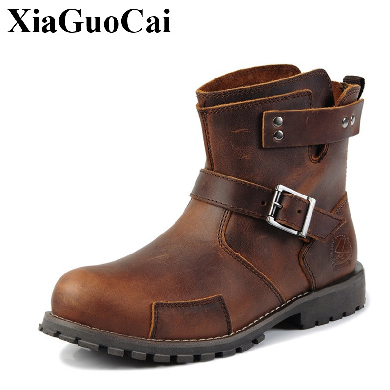 XiaGuoCai New Arrival Genuine Leather Shoes Men Boots Retro Ankle Boot Handmade Wear-resistant Non-slip Casual Martin Boots H600 new fashion men luxury brand casual shoes men non slip breathable genuine leather casual shoes ankle boots zapatos hombre 3s88