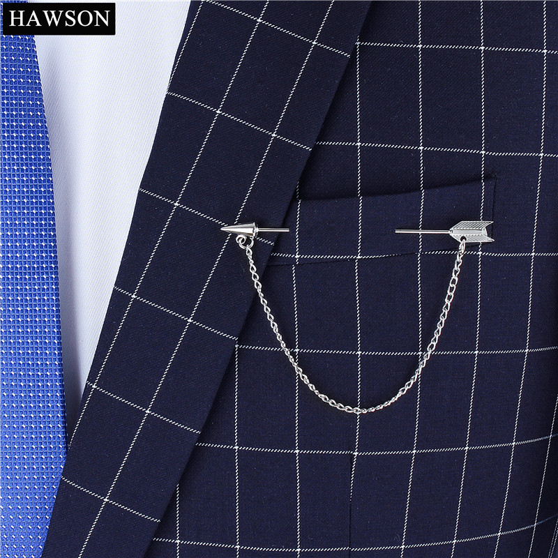 Newest Arrow Collar Pin for Mens Jewelry Silver Color Lapel Pins for Mens  Brooches with Chain Wedding Accessory