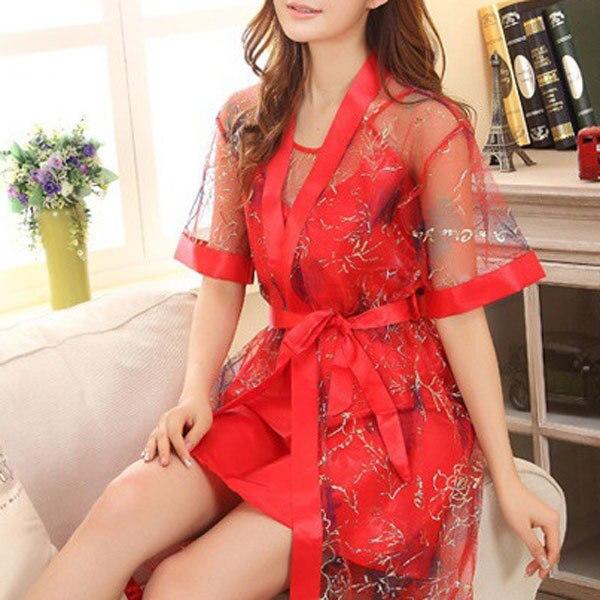 Plus Size Robe Nightgown Women Mesh Patchwork 2 Pieces/set Strapless Sleepwear Silk Sexy Elegant Lingerie Solid Pajamas HOT 1074