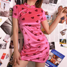ZOGAA Women Sexy Vintage Pink Summer Mini Dress Cute Heart Short Sleeve Turtleneck Velvet Party Club Vestido 2019 Harajuku Girls(China)