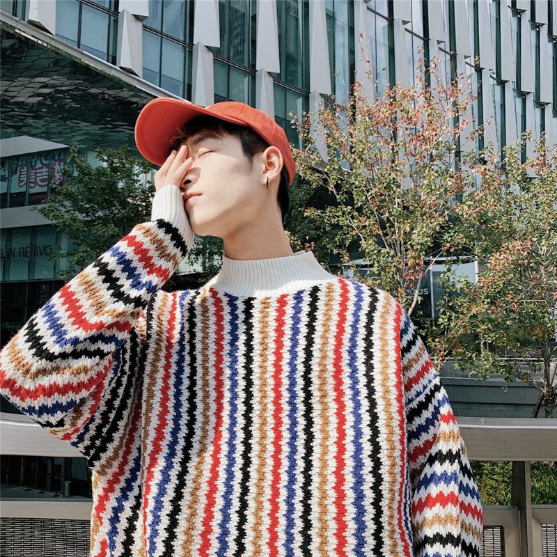 2019 Spring New Korean Version Of The Semi-high Collar Knit Couple Loose Large Size Comfortable Men Wear Casual Sweater
