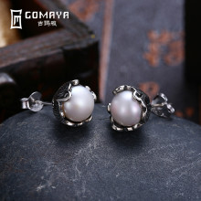 где купить GOMAYA Authentic 925 Sterling Silver Simulated Pearl Stud Earrings Vintage Color Fine Jewelry for Women Party по лучшей цене