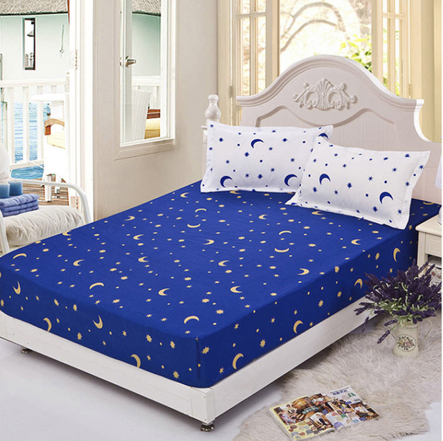 Charming Blue Star Twin Full Queen Size 1pcs Bed Sheet Fitted Sheet, Printing Sheets  Bedsheet Bedding