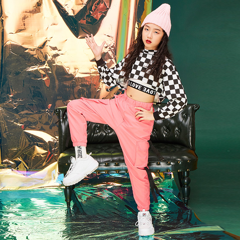 Ropa Hip Hop Costume For Girls 3pcs Suit Plaid Long Sleeve Shirt Jazz Clothes Girls Street Dance Children Stage Costume BL1767