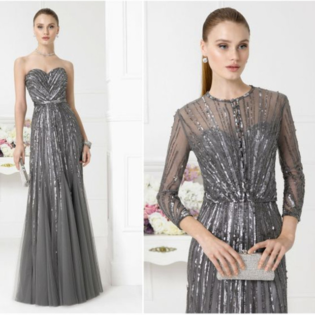 2016 gorgeous formal long evening dress with jacket luxury