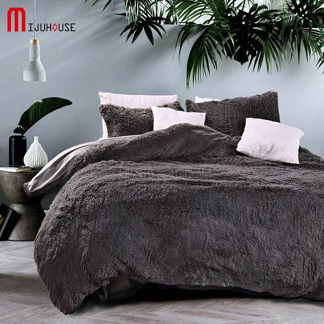 new velvet mink velvet bedding set gray duvet cover comfortable bed sheet 4 pcs pillowcases textile - Velvet Bedding