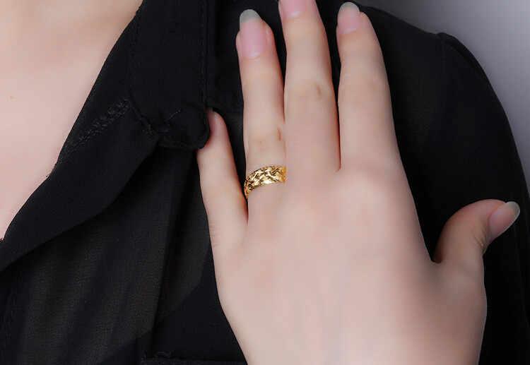格安卸売ファッションシンプルな調節可能な 24 k イエローゴールドのための女性 Romatic 結婚指輪