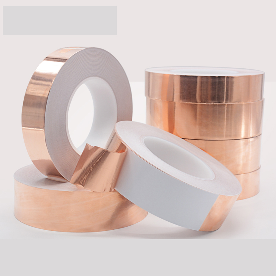 1pc 30M single-sided Conductive EMI Shielding Copper Foil Tape 5MM -50MM Adhesive Barrier 0.06mm thick copper foil conductive adhesive double conductive shielding emi anti interference conduct electricitytape 5cm x30m free shipping