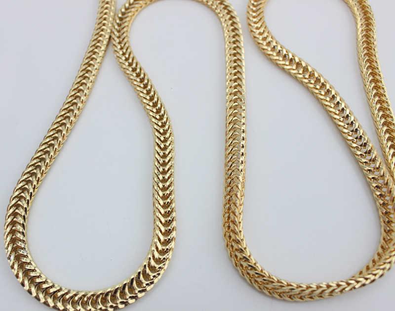 5 stks 100-130 cm/stuk goud licht goud zilver 7mm breed Aanelkaar keten vossenstaart vorm ijzeren ketting zakken purse lange schouderriem