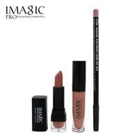 IMAGIC lip Makeup 3 sets Waterproof Strawberry Long Lasting Lipgloss+ Lipstick+ LipLiner Pencil Makeup Set