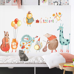 Colorful Music Cartoon Wall Stickers For Kids Rooms Baby Room Home Decoration Animal Nursery Wall Decoration Decals