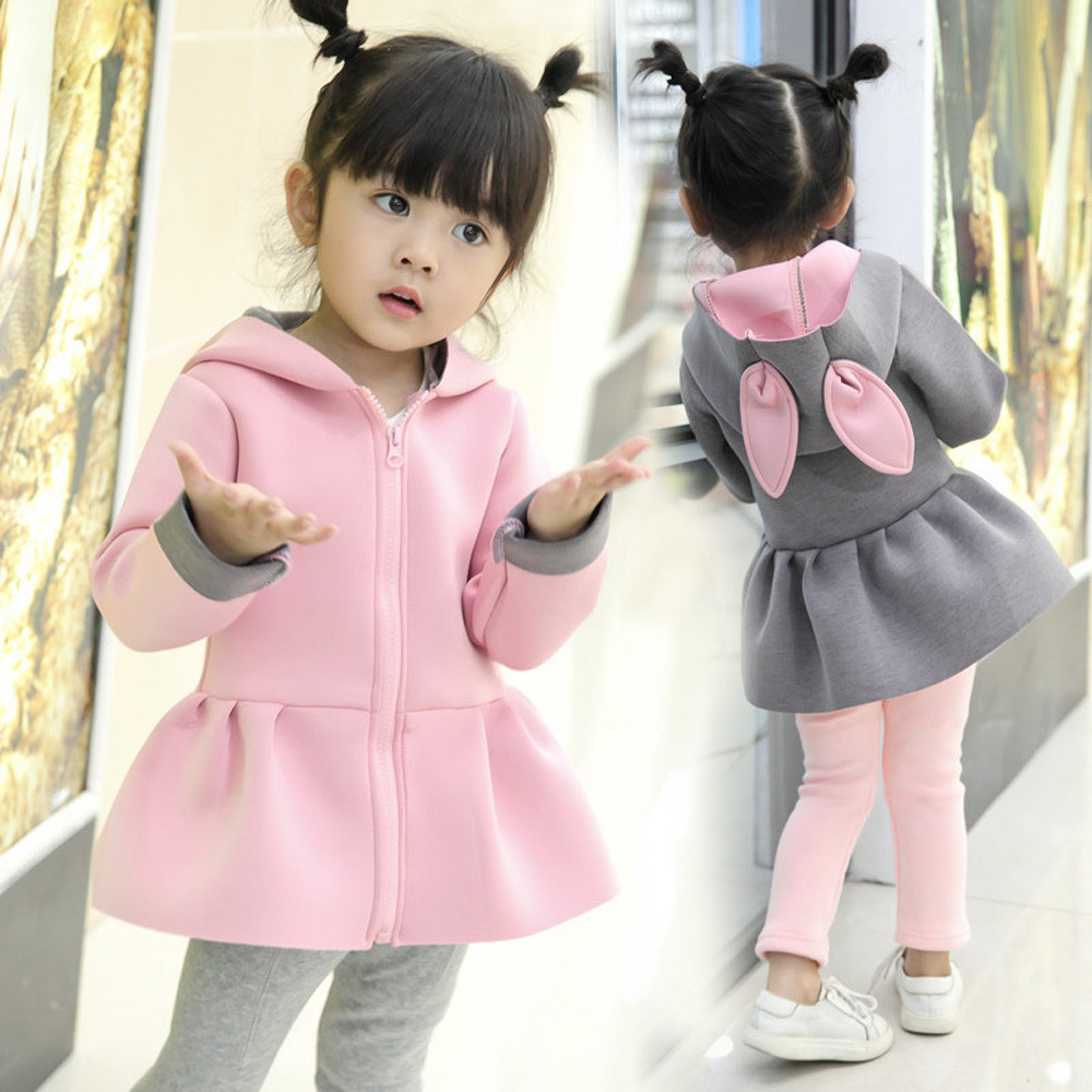 Kid Baby Girl Autumn Winter t Cartoon Rabbit Ears Long Sleeve Girls Jackets Waistcoat Hoodie Coat Warm Outwear Clothes cute