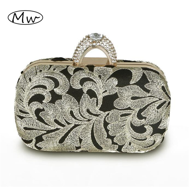 Chinese Style Flower Embroidery Clutch Bag Ladies Banquet Cheongsam Bag Finger Rind Evening Bag Mini Chain Handbags purse wallet