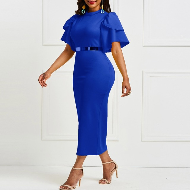 Evening Party Date Women Vintage Ruffle Yellow Blue Purple Bodycon Dress Office Lady Work Day Plus Size Midi Long Skinny Dresses 4