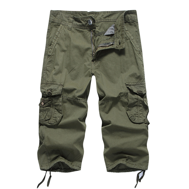 3ed0bd2dc421 Men s 3 4 Cargo pants 2018 Summer Fashion Pants Male Loose Baggy Pants  Casual Loose Rope 100%Cotton Work Travel 7 Minutes Pant