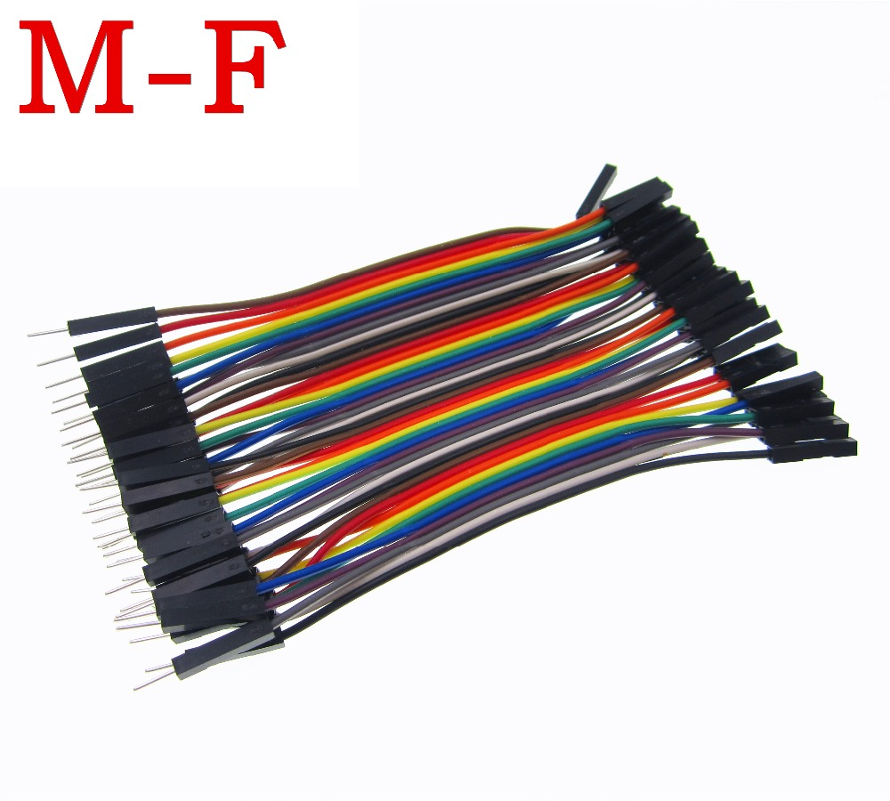 40pcs 10cm 2.54mm 1pin 1p-1p/ male to female jumper wire Dupont cable 40pcs in row dupont cable 20cm 2 54mm 1pin 1p 1p female to male jumper wire for