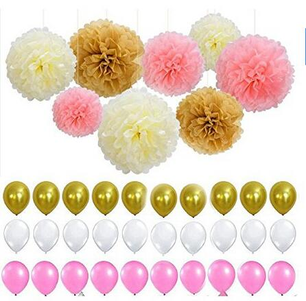 Set of 38 white pink gold latex balloons tissue paper pom poms set of 38 white pink gold latex balloons tissue paper pom poms flower great party supplies for princess girl boy or any party in artificial dried mightylinksfo