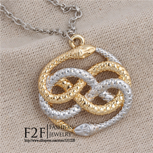 The never ending story steampunk vintage style two snake necklace the never ending story steampunk vintage style two snake necklace auryn necklace xl428 mozeypictures Choice Image