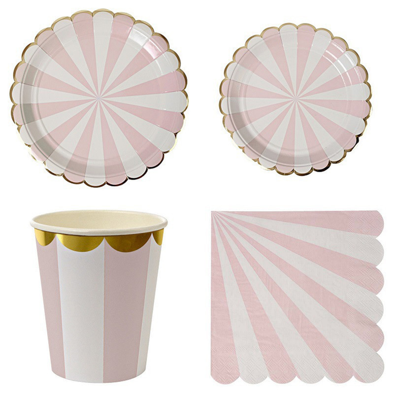 Gilding High-end Disposable Tableware Set Pink Striped Paper Plates <font><b>Cups</b></font> Napkins <font><b>Party</b></font> Wedding Carnival Tableware Supplies