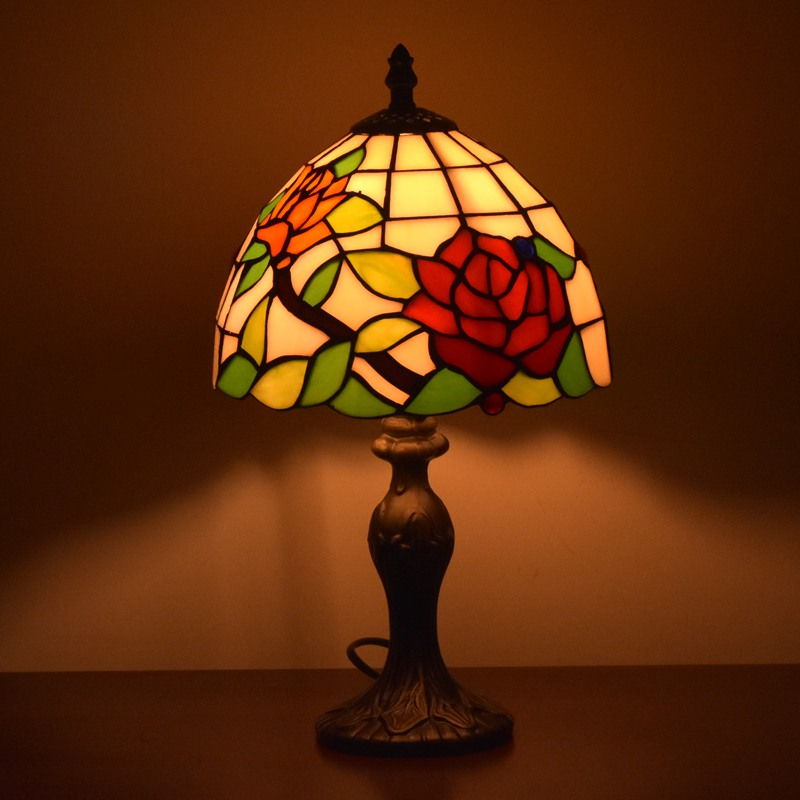 Tiffany Style Lamps Floral Night Light 8 Inches Small Stained Glass Desk Table Lamp Lighting 15 Inches Height Antique On Sale