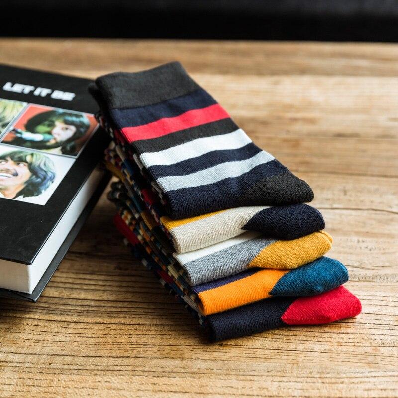 2017 The new Man fashion color striped in tube socks man socks autumn winter socks EUR39-44
