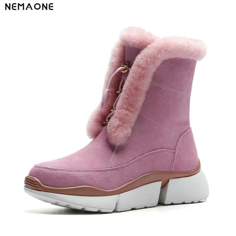 NemaoNe Winter Women Snow Boots Winter Women Keep warm Shoes Autumn Female ankle Platform Boots 2018 Woman Shoes цены